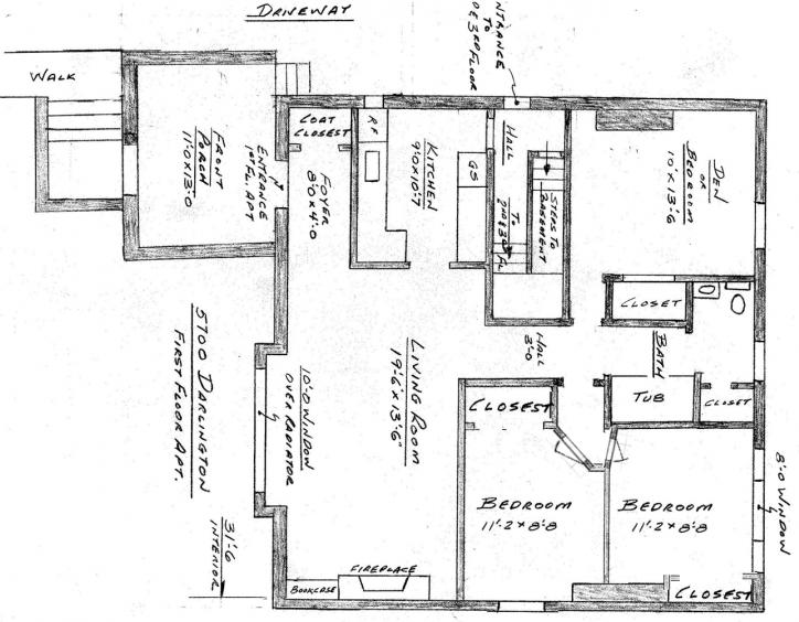 5700 Darlington Road 1st Floor Plan - 3 Bedroom