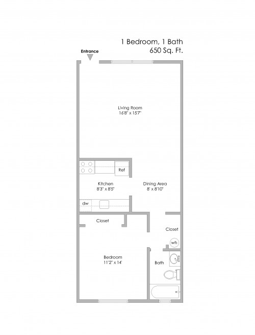 6350 Forward-1 Bedroom, Even Numbered Apts on 1st Level