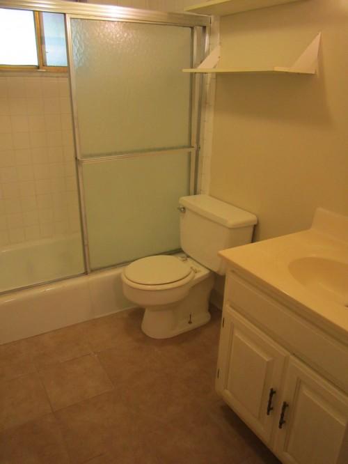 Bathroom with new tile floors